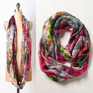 Anthropologie Floral Watercolor Infinity Scarf